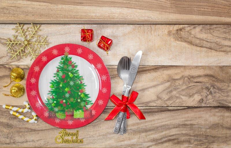 Ρύθμιση επιτραπέζιων θέσεων Χριστουγέννων ανασκόπηση εορταστική στοκ εικόνες