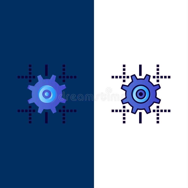 Ρύθμιση, εργαλείο, υπολογισμός, εικονίδια γραμμών Επίπεδος και γραμμή γέμισε το καθορισμένο διανυσματικό μπλε υπόβαθρο εικονιδίων ελεύθερη απεικόνιση δικαιώματος