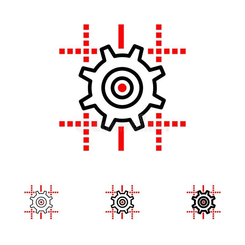 Ρύθμιση, εργαλείο, υπολογισμός, τολμηρό και λεπτό μαύρο σύνολο εικονιδίων γραμμών γραμμών διανυσματική απεικόνιση