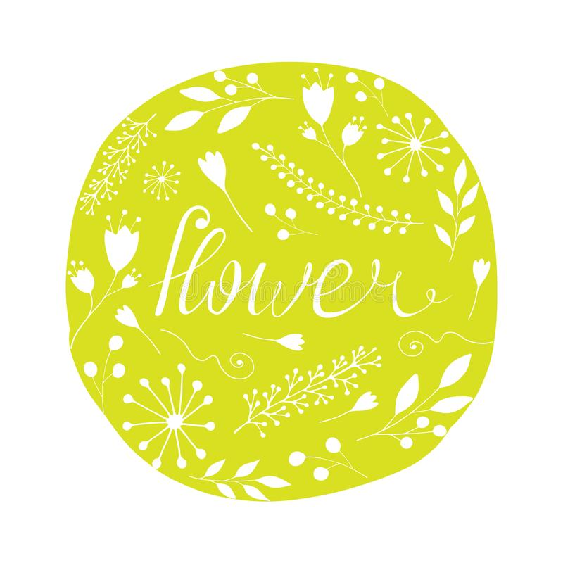 Ρύθμιση λουλουδιών με την επιγραφή χαριτωμένη διανυσματική απεικόνιση διανυσματική απεικόνιση