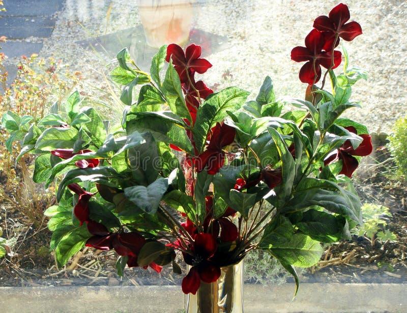 Ρύθμιση λουλουδιών, στο windowsill, στο δοχείο ορείχαλκου στοκ εικόνες με δικαίωμα ελεύθερης χρήσης