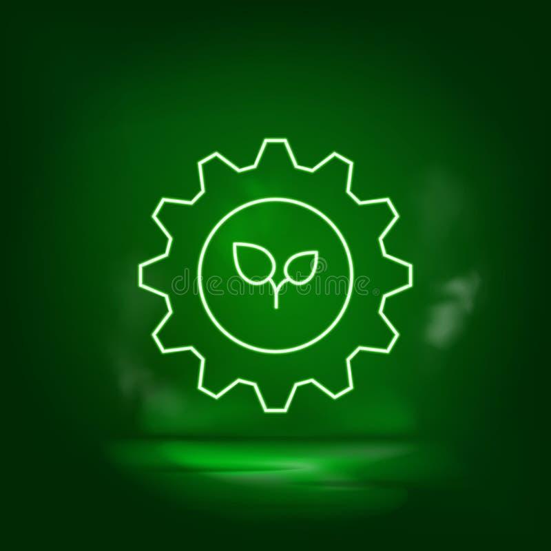Ρύθμιση, οικολογικός, εικονίδιο νήματος Σώστε τον κόσμο, πράσινο νέον απεικόνιση αποθεμάτων