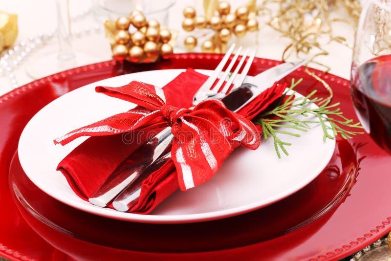 Ρύθμιση πιάτων γευμάτων διακοπών στοκ φωτογραφίες με δικαίωμα ελεύθερης χρήσης
