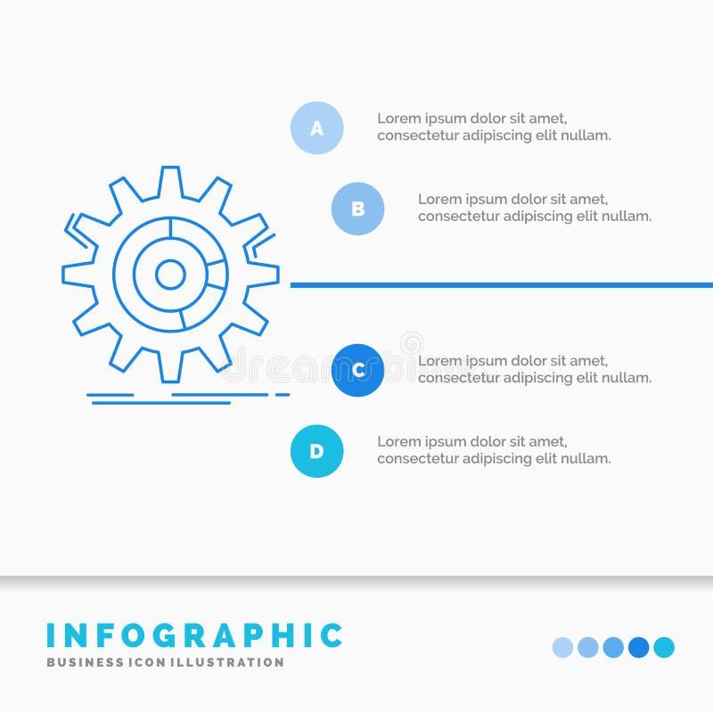 ρύθμιση, στοιχεία, διαχείριση, διαδικασία, πρότυπο Infographics προόδου για τον ιστοχώρο και παρουσίαση Infographic ύφος εικονιδί διανυσματική απεικόνιση