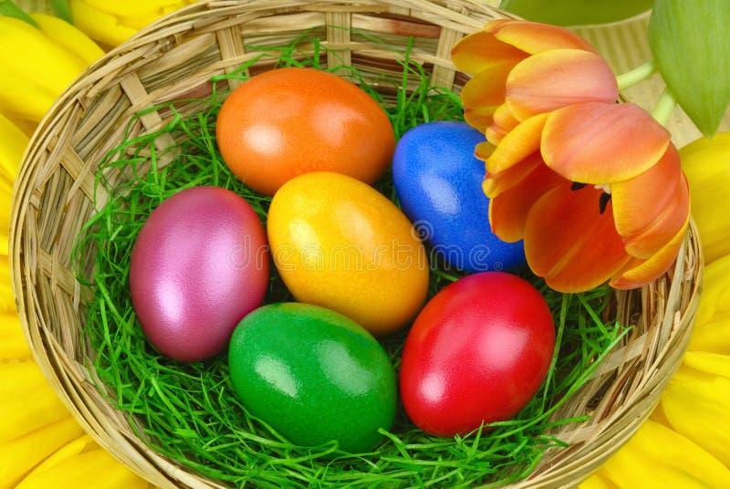 Ρύθμιση της Νίκαιας Πάσχα με τα αυγά στοκ εικόνα με δικαίωμα ελεύθερης χρήσης