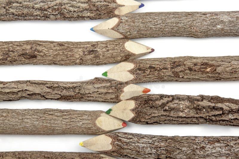 Ρύθμιση των ακονισμένων καλυμμένων φλοιός κραγιονιών μολυβιών στοκ εικόνες