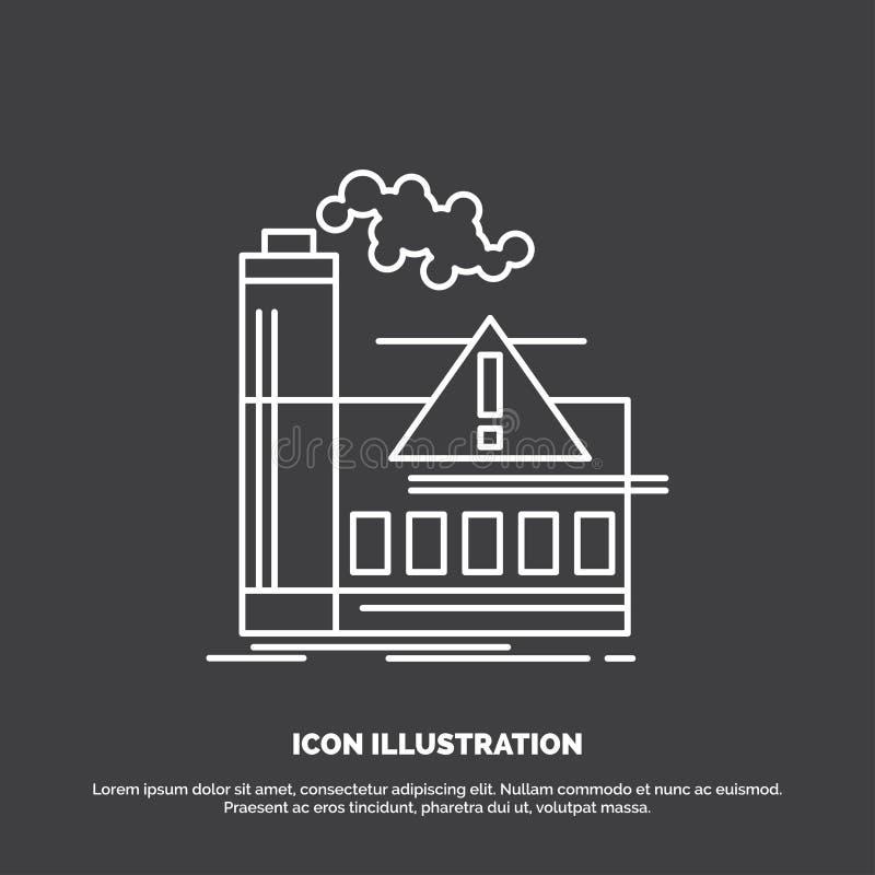 ρύπανση, εργοστάσιο, αέρας, επιφυλακή, εικονίδιο βιομηχανίας Διανυσματικό σύμβολο γραμμών για UI και UX, τον ιστοχώρο ή την κινητ ελεύθερη απεικόνιση δικαιώματος