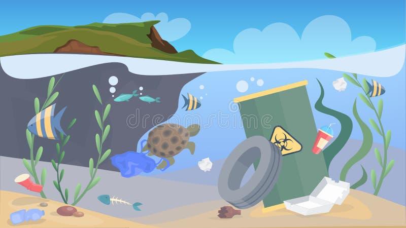 Ρύπανση φύσης Απορρίματα και απορρίμματα στη θάλασσα διανυσματική απεικόνιση