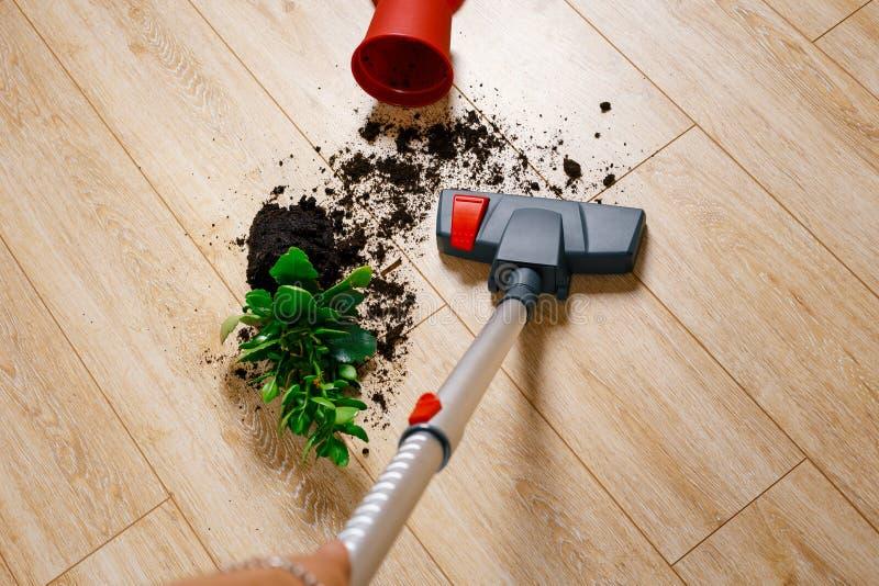 Ρύπος σκουπίσματος με ηλεκτρική σκούπα από το πάτωμα στοκ φωτογραφία