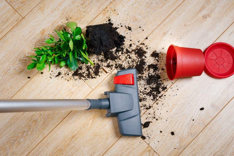 Ρύπος σκουπίσματος με ηλεκτρική σκούπα από το πάτωμα στοκ εικόνες με δικαίωμα ελεύθερης χρήσης