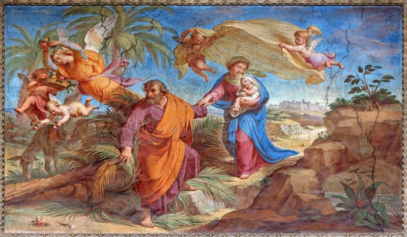 Ρώμη - η πτήση στη νωπογραφία της Αιγύπτου Basilica Di Sant Agostino (Augustine) από το Pietro Gagliardi στοκ φωτογραφίες με δικαίωμα ελεύθερης χρήσης