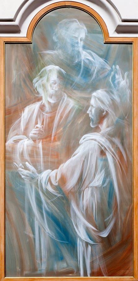 Ρώμη - Ιησούς και απόστολος. Λεπτομέρεια της σύγχρονης νωπογραφίας από το dei Martiri Angeli ε degli της Σάντα Μαρία βασιλικών στοκ φωτογραφίες