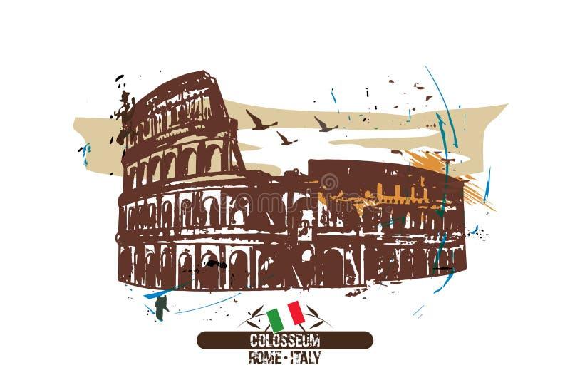 Ρώμη, σχέδιο πόλεων Colosseum/Ιταλία διανυσματική απεικόνιση