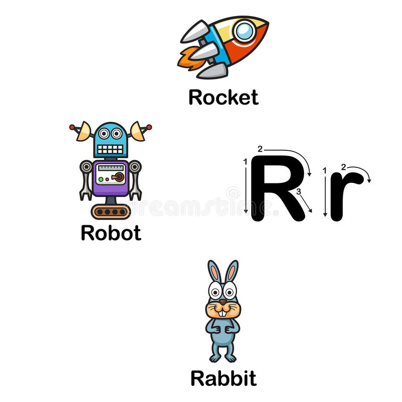 Ρ-πύραυλος επιστολών αλφάβητου, ρομπότ, απεικόνιση κουνελιών διανυσματική απεικόνιση