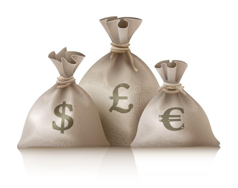 Σάκοι με το ευρώ και τη λίβρα δολαρίων νομισμάτων χρημάτων ελεύθερη απεικόνιση δικαιώματος