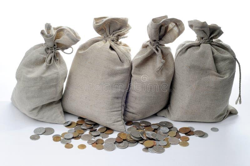 σάκοι χρημάτων νομισμάτων στοκ εικόνες με δικαίωμα ελεύθερης χρήσης