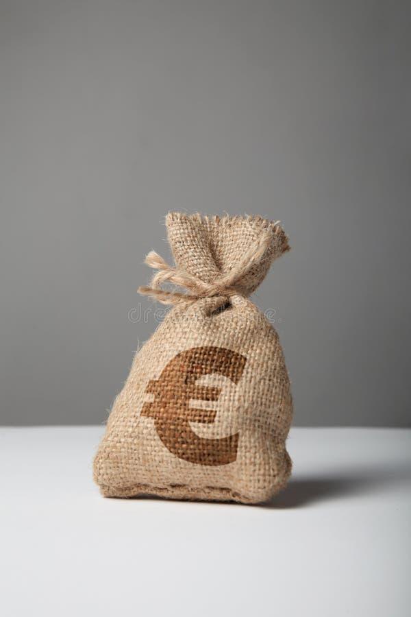 Σάκος με τα χρήματα και ευρο- σκιαγραφία στο γκρίζο υπόβαθρο Σύμβολο του πλούτου και των υψηλών κερδών στοκ εικόνες