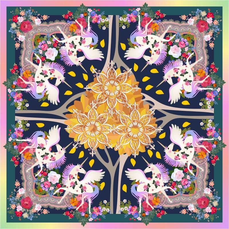 Σάλι πολυτέλειας με τους φτερωτούς μονοκέρους στη μαγική δασική και όμορφη floral διακόσμηση φθινοπώρου ουράνιο τόξο συνόρων ελεύθερη απεικόνιση δικαιώματος