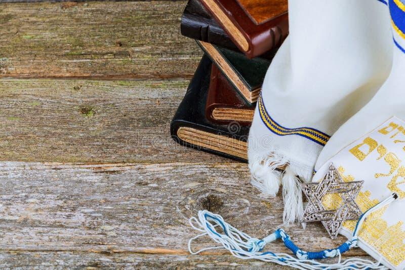 Σάλι προσευχής - Tallit, εβραϊκό θρησκευτικό σύμβολο Εκλεκτική εστίαση στοκ φωτογραφίες με δικαίωμα ελεύθερης χρήσης