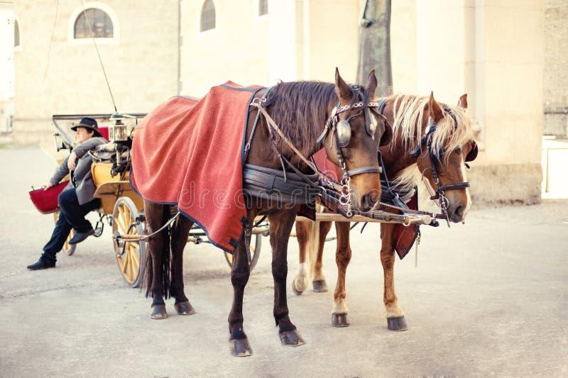 Σάλτζμπουργκ, Αυστρία - τον Απρίλιο του 2015: Horse-drawn κάρρα στο κέντρο πόλεων στοκ φωτογραφίες