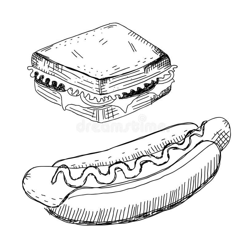 Σάντουιτς και χοτ-ντογκ απεικόνιση αποθεμάτων