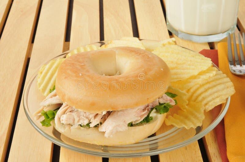 Σάντουιτς κοτόπουλου bagel στοκ φωτογραφίες