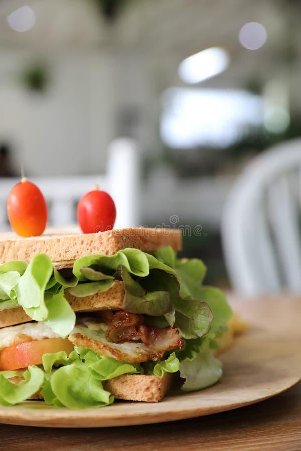 Σάντουιτς λεσχών με το ζαμπόν, μπέϊκον, ντομάτα, τυρί, αυγά στοκ φωτογραφία