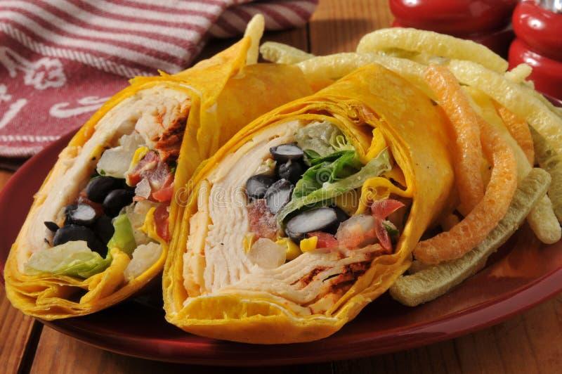 Σάντουιτς περικαλυμμάτων κοτόπουλου Chipotle στοκ εικόνα