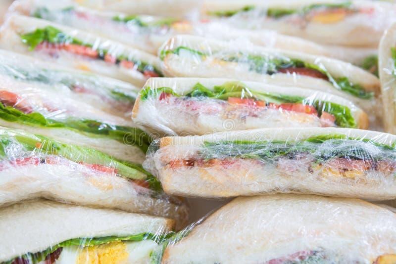 Σάντουιτς στο πλαστικό περικάλυμμα για το πικ-νίκ στοκ εικόνες