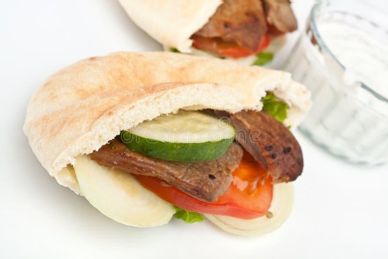 Σάντουιτς ψωμιού Pita στοκ εικόνες με δικαίωμα ελεύθερης χρήσης