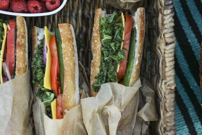 Σάντουιτς Vegan για το μεσημεριανό γεύμα στην παραλία στοκ φωτογραφίες με δικαίωμα ελεύθερης χρήσης