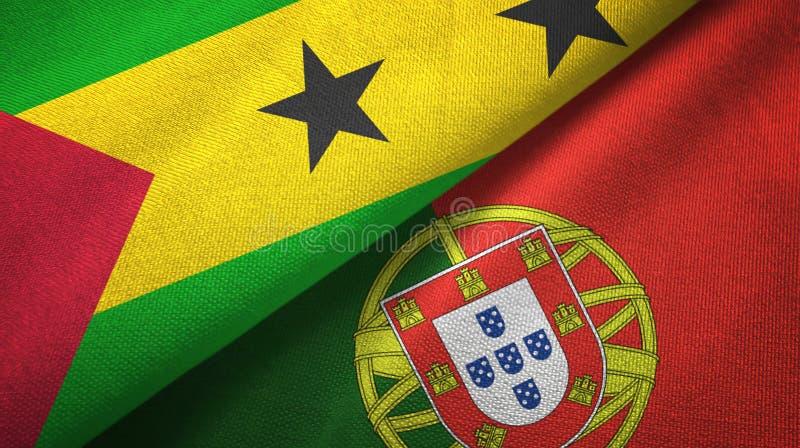Σάο Τομέ και Πρίντσιπε και Πορτογαλία δύο σημαίες απεικόνιση αποθεμάτων
