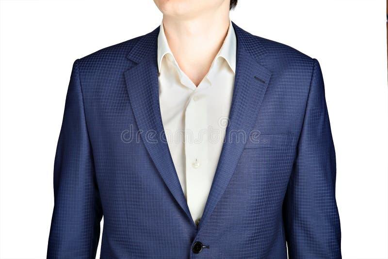 Σάπφειρος για το πρόστιμο σακακιών κοστουμιών ατόμων ελεγμένο στοκ εικόνα