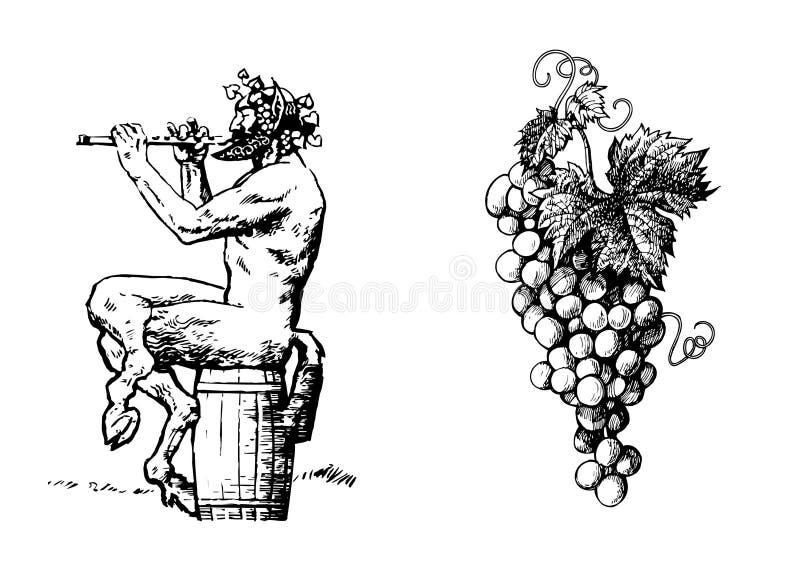 Σάτυρος στο κρασί βαρελιών 0f που παίζει το φλάουτο και τη δέσμη των σταφυλιών διάνυσμα διανυσματική απεικόνιση