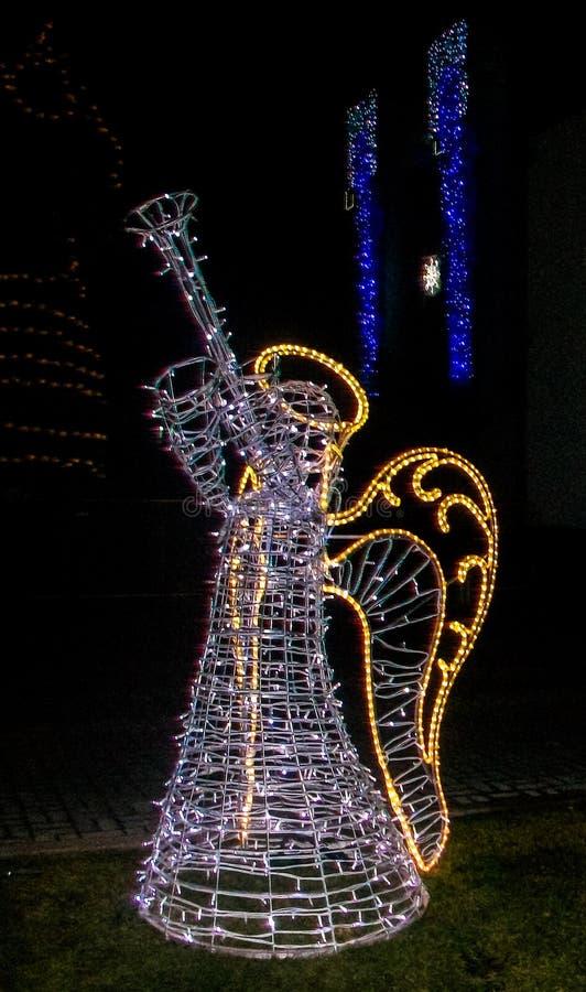 Σάλπιγγα παιχνιδιού αγγέλου χειμερινού φωτισμού στοκ φωτογραφίες με δικαίωμα ελεύθερης χρήσης