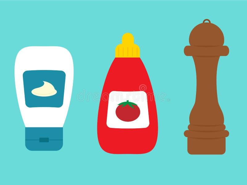 Σάλτσα και μαγιονέζα ντοματών μπουκαλιών πιπεριών καρυκευμάτων διανυσματική απεικόνιση