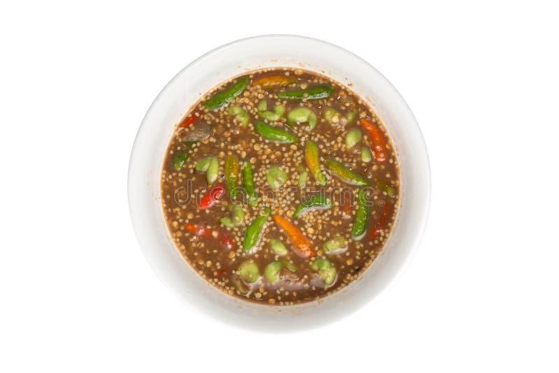 Σάλτσα κολλών γαρίδων στο άσπρο υπόβαθρο - ταϊλανδικές πικάντικες συνταγές τροφίμων στοκ φωτογραφίες