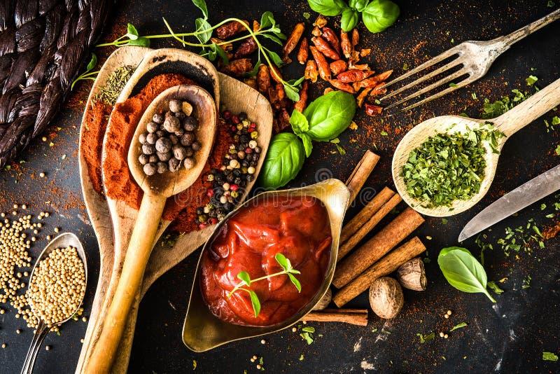 Σάλτσα ντοματών με στοκ εικόνες
