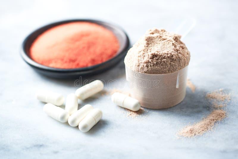 Σέσουλα της πρωτεΐνης ορρού γάλακτος, των καψών βήτα-αλανινών και της σκόνης κρεατίνης Αθλητική διατροφή στοκ φωτογραφίες