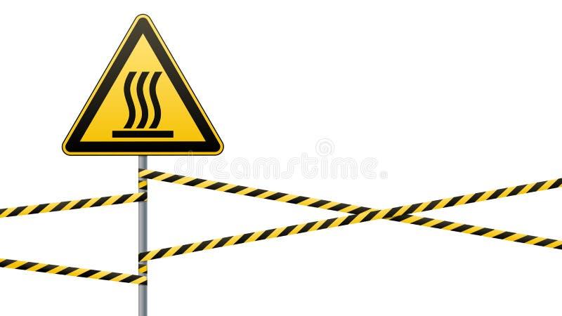 Σήμανση ασφάλειας Beware της καυτής επιφάνειας κινδύνου Ταινία και σημάδι εμποδίων σε έναν πόλο με μια ριγωτή κορδέλλα Κίτρινος-μ απεικόνιση αποθεμάτων