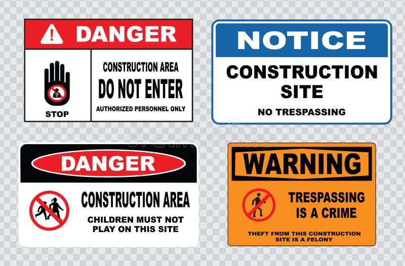 Σήμανση ασφάλειας περιοχών ή ασφάλεια κατασκευής διανυσματική απεικόνιση