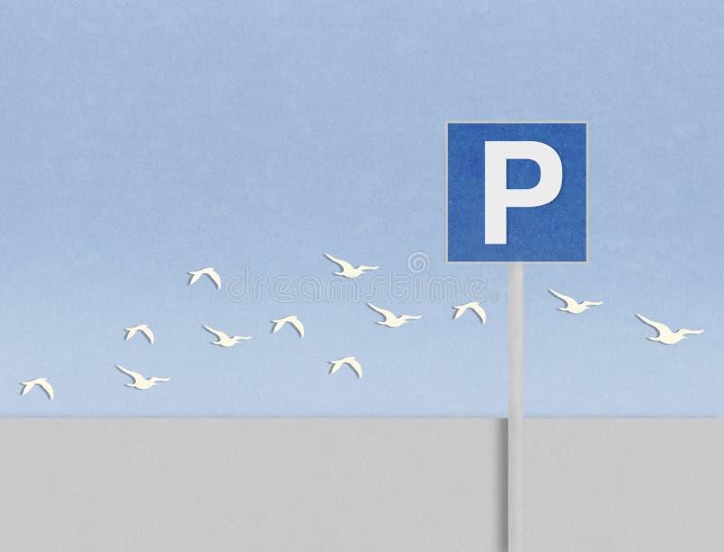 σήμα και πουλιά χώρων στάθμευσης στο χαρτόνι ελεύθερη απεικόνιση δικαιώματος