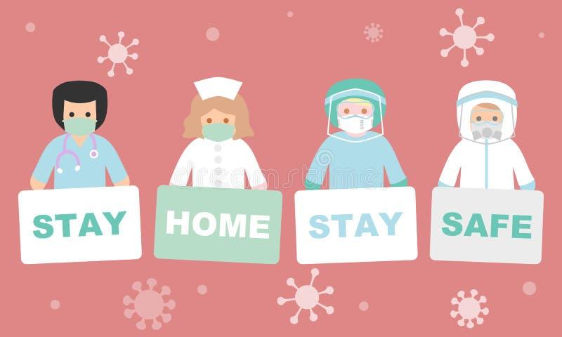 Σήμα κράτησης ιατρικού προσωπικού, διαμονή στο σπίτι ασφαλής ελεύθερη απεικόνιση δικαιώματος