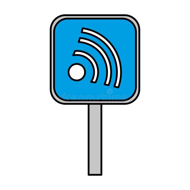 Σήμα κυκλοφορίας με τα κύματα wifi απεικόνιση αποθεμάτων