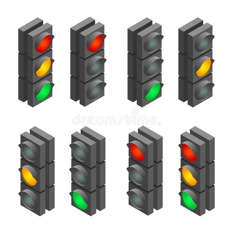 Σήμα κυκλοφορίας Φωτεινός σηματοδότης, ακολουθία φωτεινού σηματοδότη Επίπεδη τρισδιάστατη διανυσματική isometric απεικόνιση ελεύθερη απεικόνιση δικαιώματος