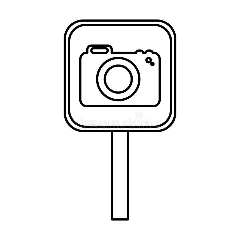 Σήμα με τη φωτογραφική κάμερα ελεύθερη απεικόνιση δικαιώματος