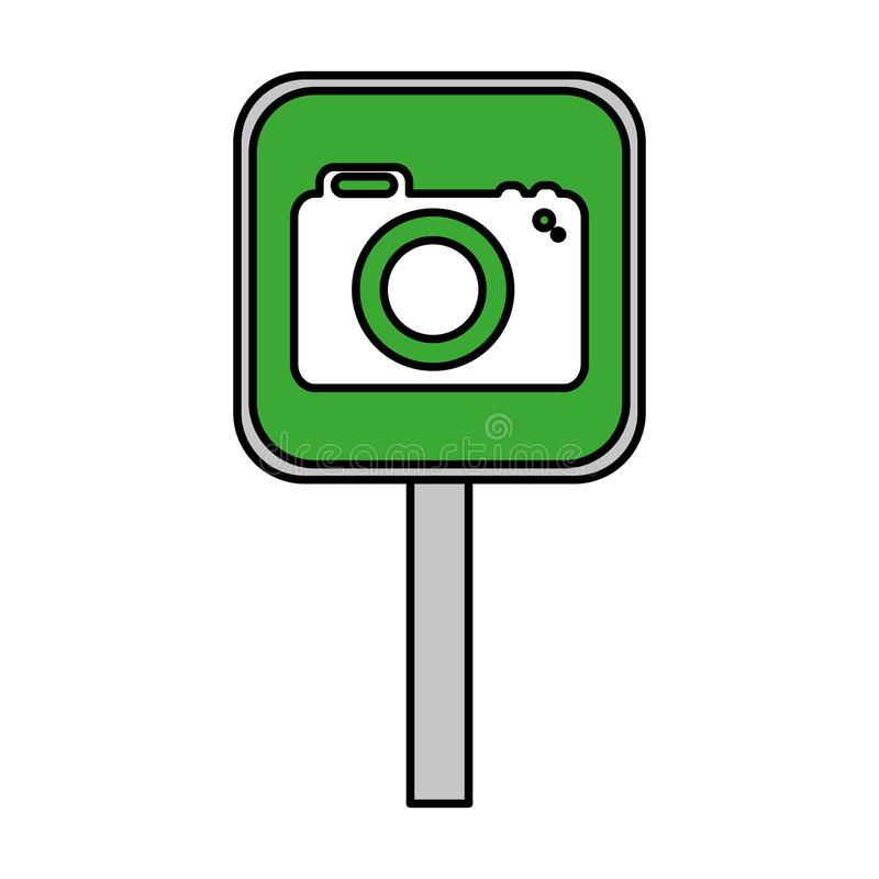 Σήμα με τη φωτογραφική κάμερα διανυσματική απεικόνιση