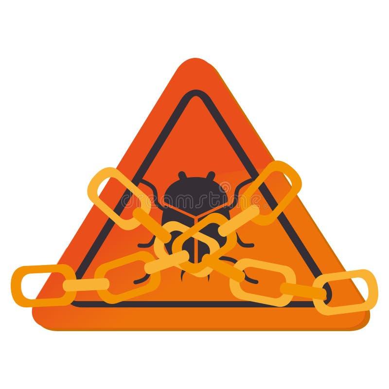 Σήμα τριγώνων με την αλυσίδα απεικόνιση αποθεμάτων
