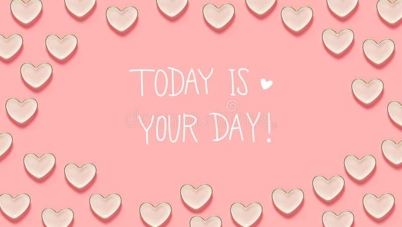 Σήμερα είναι το μήνυμα ημέρας σας με πολλά πιάτα καρδιών διανυσματική απεικόνιση