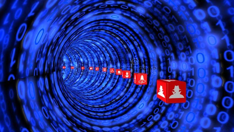 Σήραγγα Cybersecurity στο μπλε διανυσματική απεικόνιση